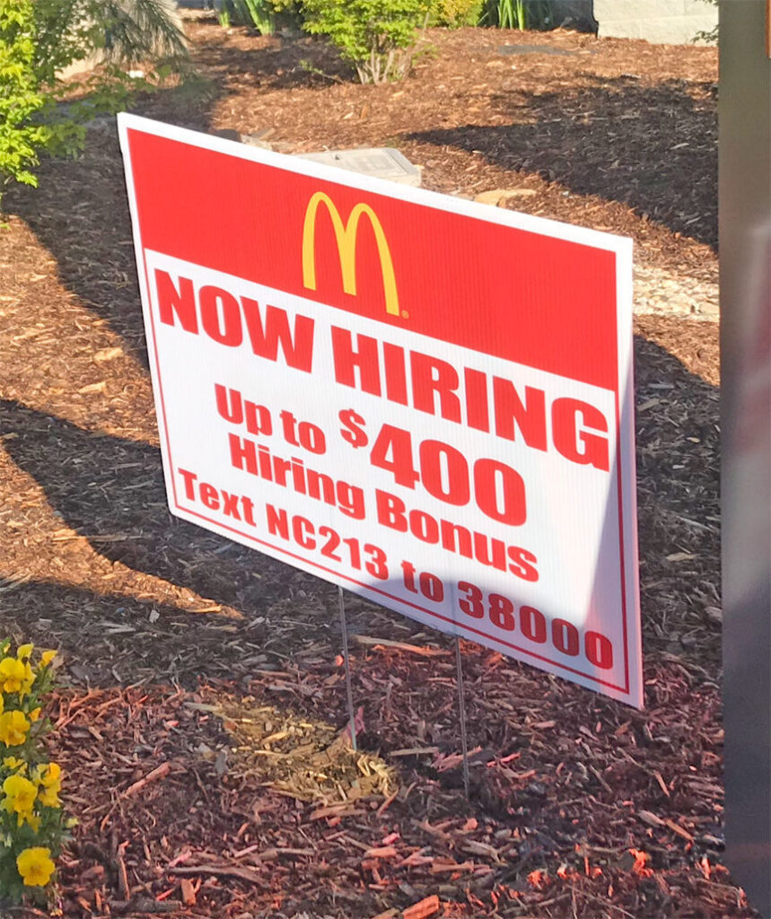 sign for sign-on bonus to work at McDs