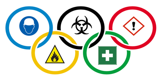 Olympic rings with safety images